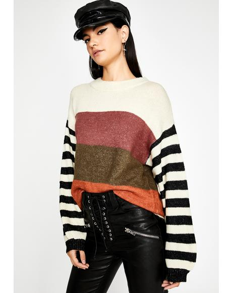 Sweet Day Off Striped Sweater
