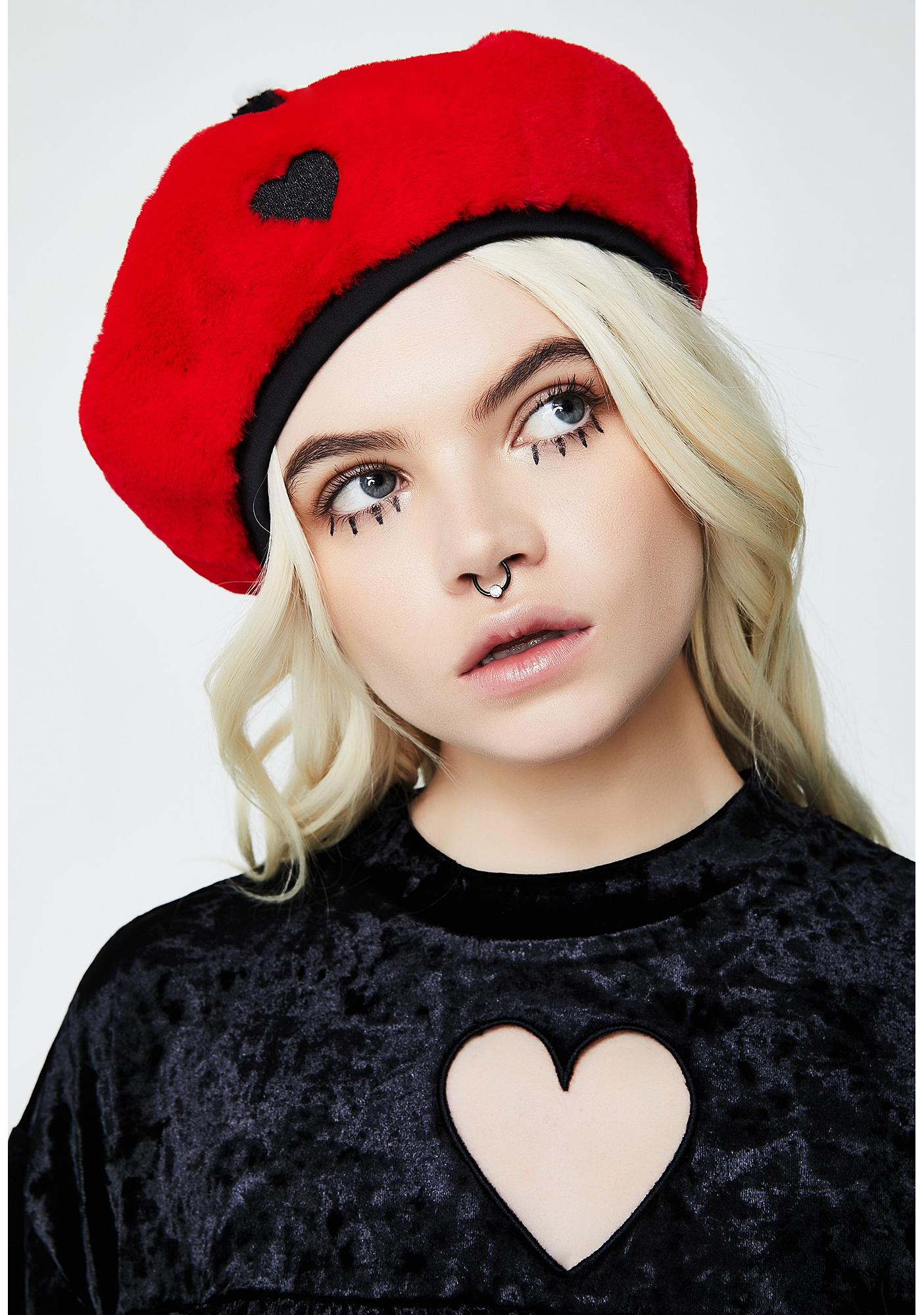 Black Beret With Floral Emboidered Patches - Black multi My Accessories