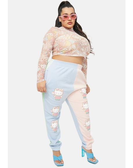 Curve Hello Kitty Color Block Joggers