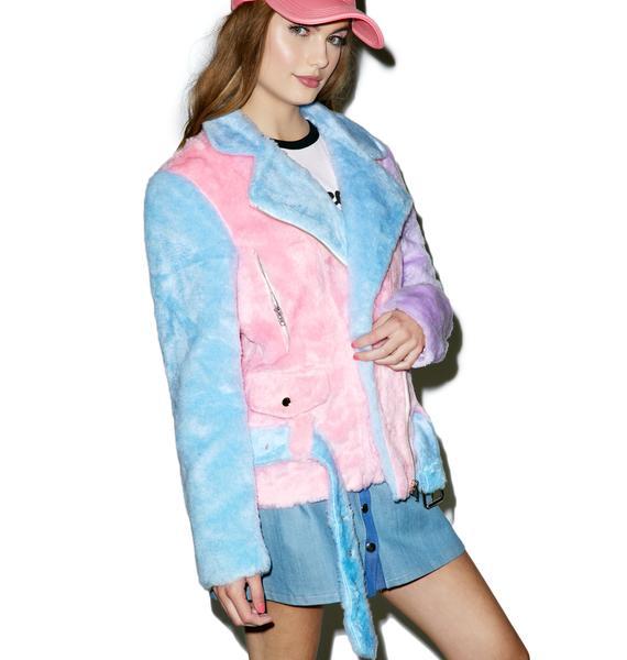 Sugarpills Pastel Faux Fur Moto Jacket