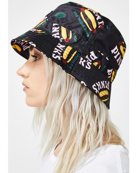 X Pink's Hot Dogs Made Special Black Bucket Hat