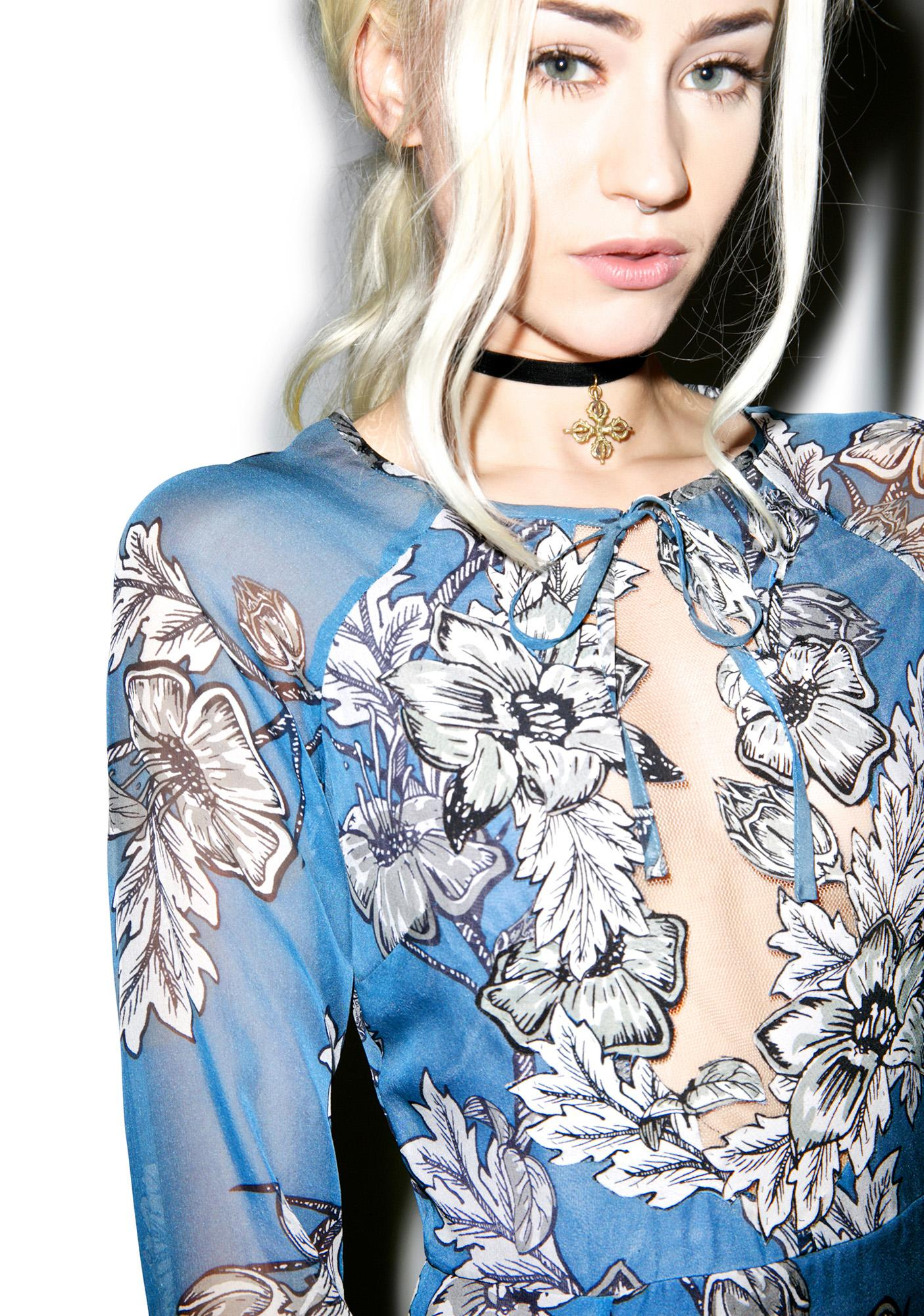 For Love & Lemons Vintage Blue Sierra Mini Dress