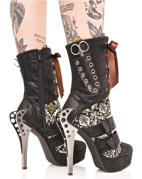 Lorrein Buckled Stiletto Boots