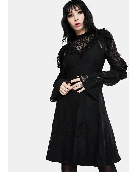 Dark Dreams Lace Skater Dress