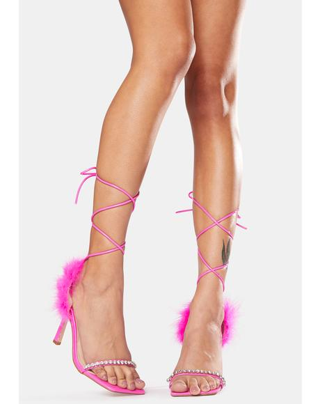 Pink Fifi Feather Wrap Square Toe Stiletto Heels