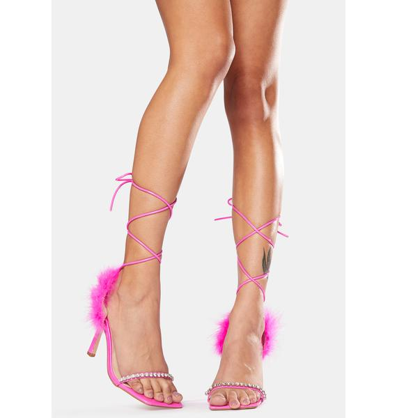 Public Desire Pink Fifi Feather Wrap Square Toe Stiletto Heels