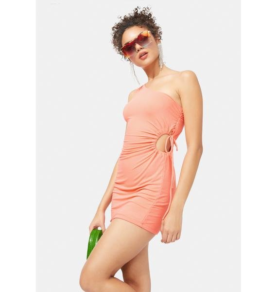 It's Complicated Ruched One Shoulder Dress