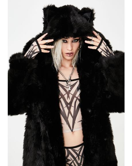 Classic Black Wolf Long Faux Fur Coat