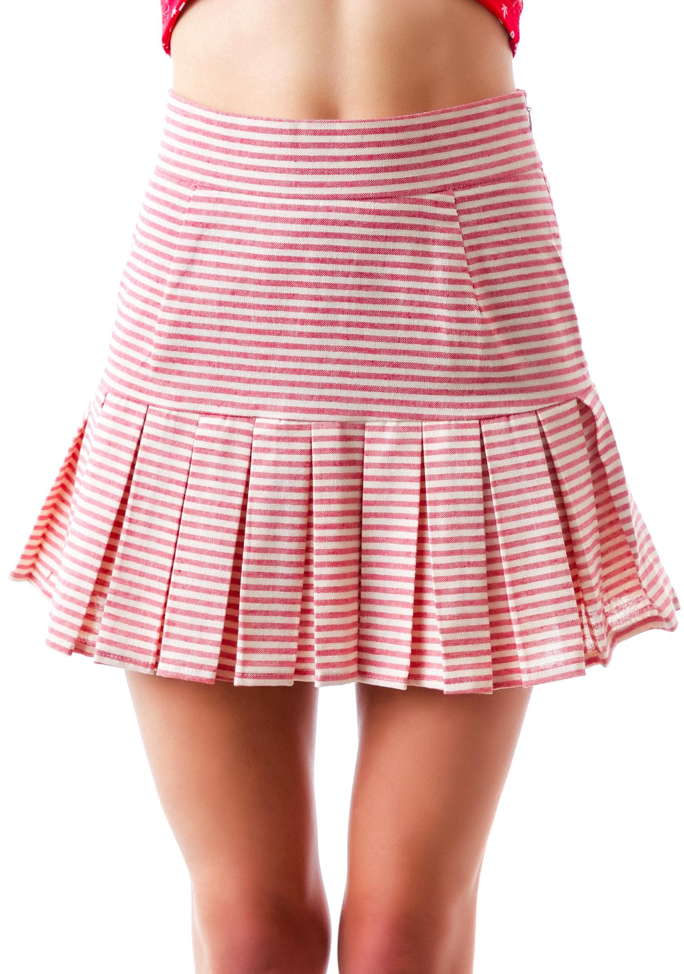 Stripe Rite Peplum Skirt