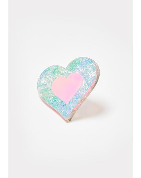 Iridescent Glitter Heart Ring
