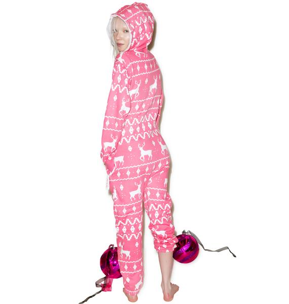 Tipsy Elves Pink Fair Isle Jumpsuit