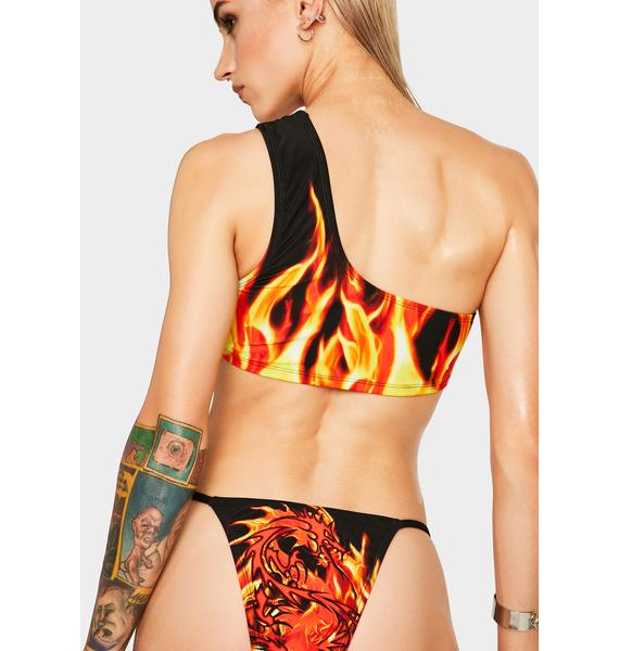 Jaded London Flaming Car One Shoulder Bikini Top