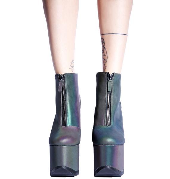 Y.R.U. Reflective Nightmare Platform Boots
