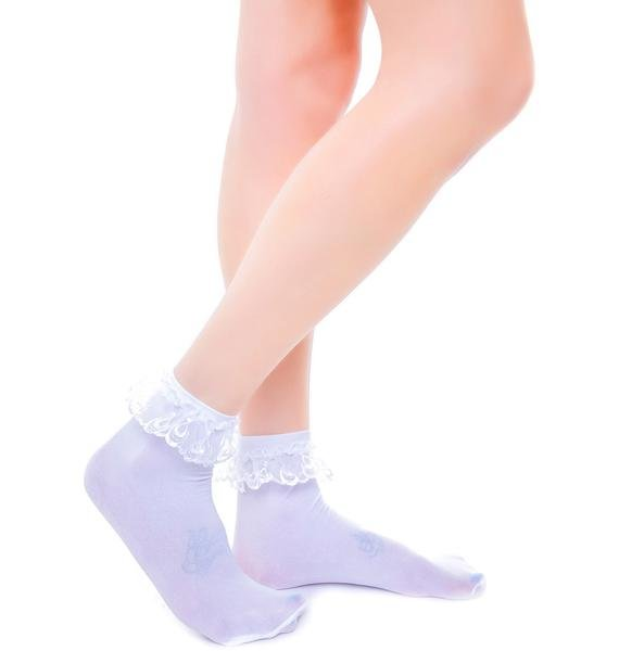 Prep School Lace Ruffle Ankle Socks