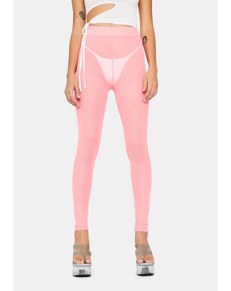 Coral Pure Naughtiness Sheer Leggings