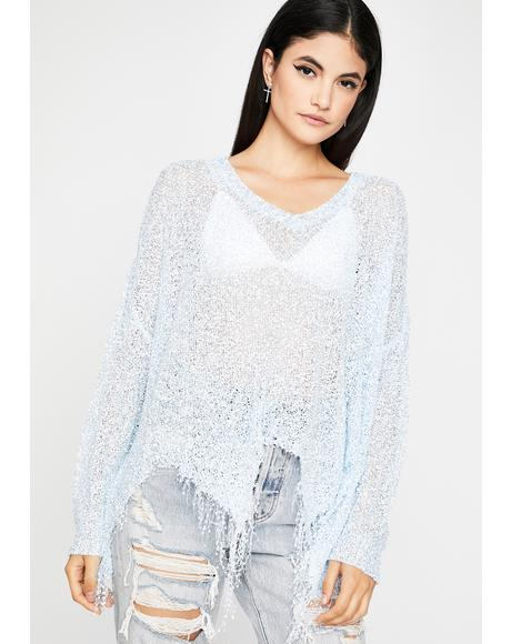 Chill Twisted Glitz Distressed Sweater
