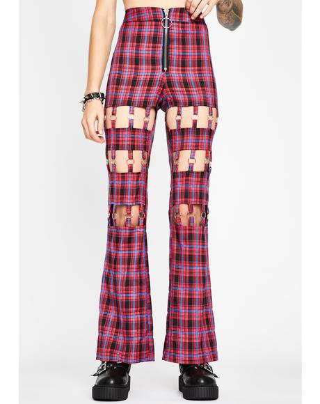 Berry Plaid Habits Cut-Out Pants