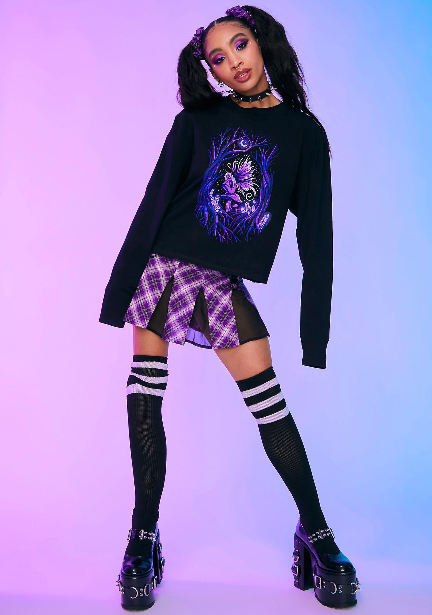 HOROSCOPEZ Fairy Fanatic Screen Print Long Sleeve Oversized Tee