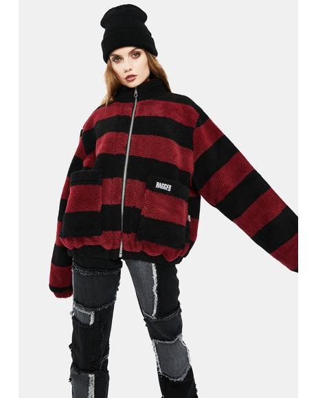 Menace Striped Teddy Jacket