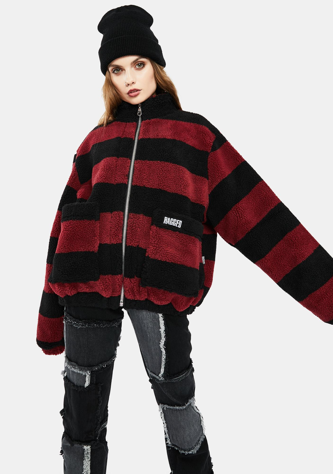 The Ragged Priest Menace Striped Teddy Jacket