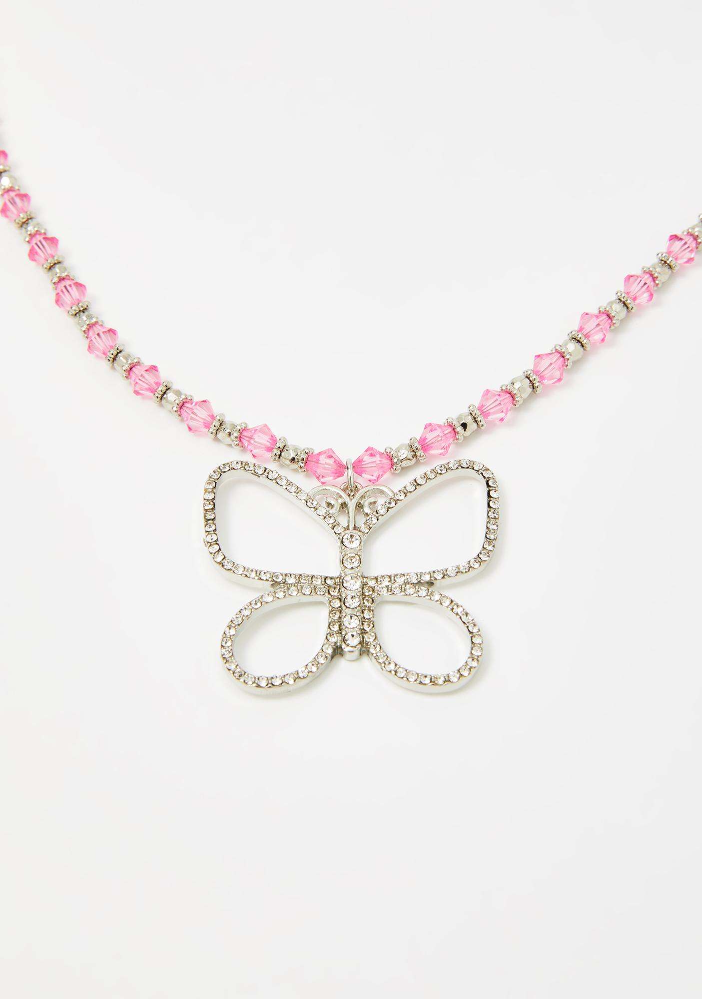 Like A Butterfly Beaded Necklace