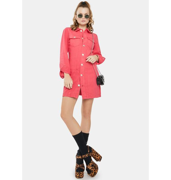 Glamorous Rose Red Button Front Mini Dress