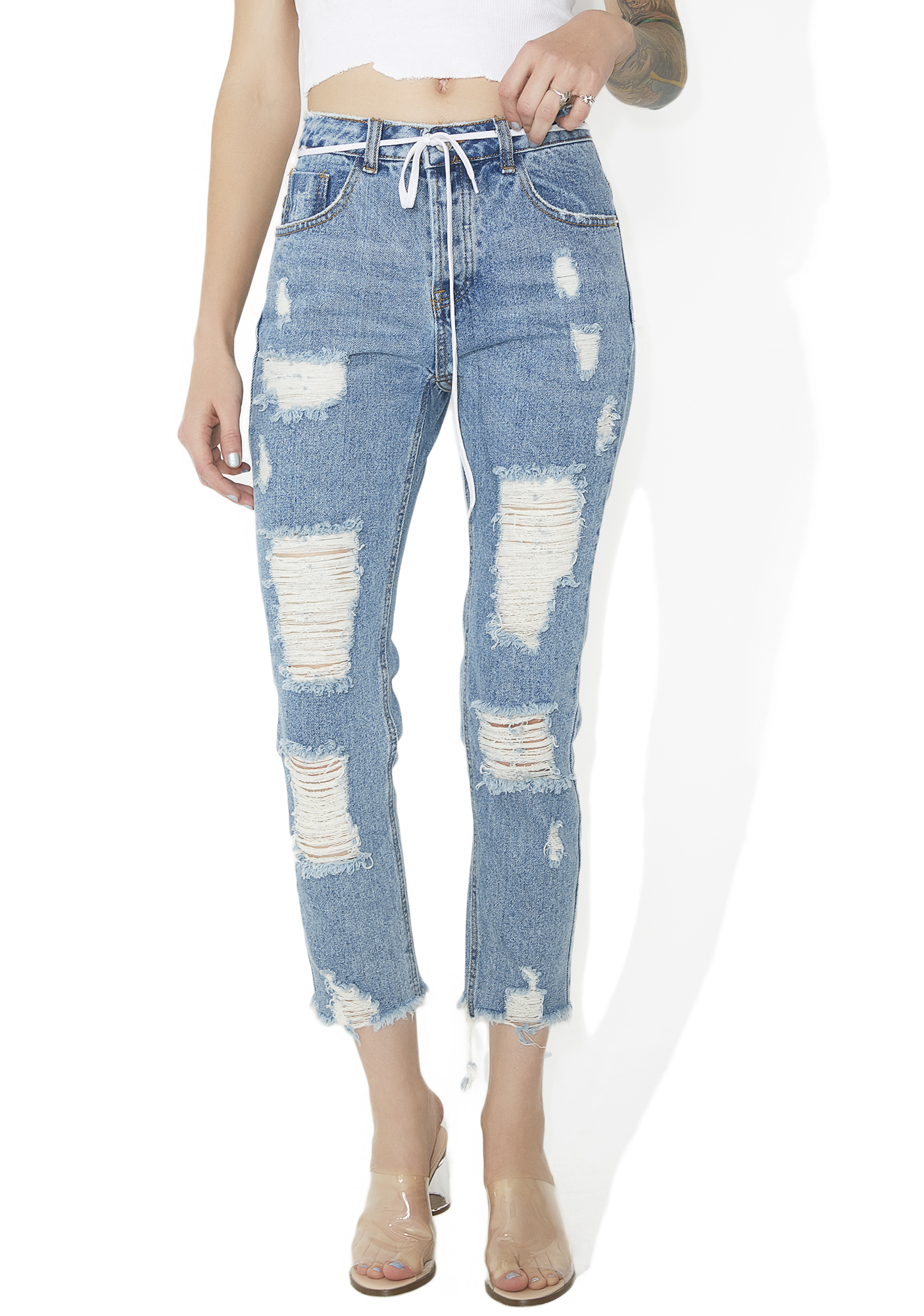 Distressed Frayed Cropped Jeans