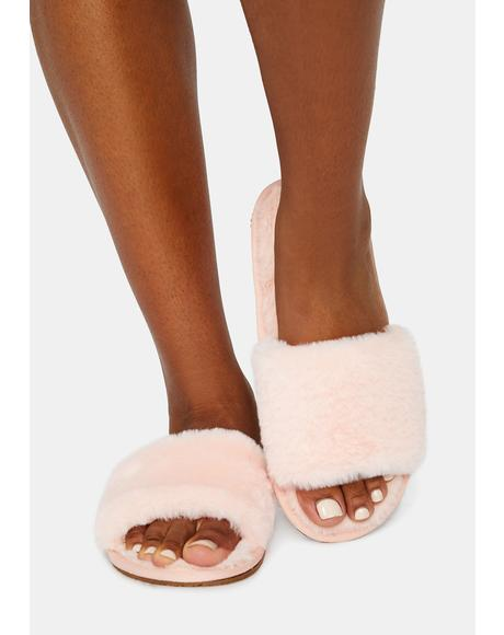 Flirty Fluff With Me Fuzzy Slipper Slides
