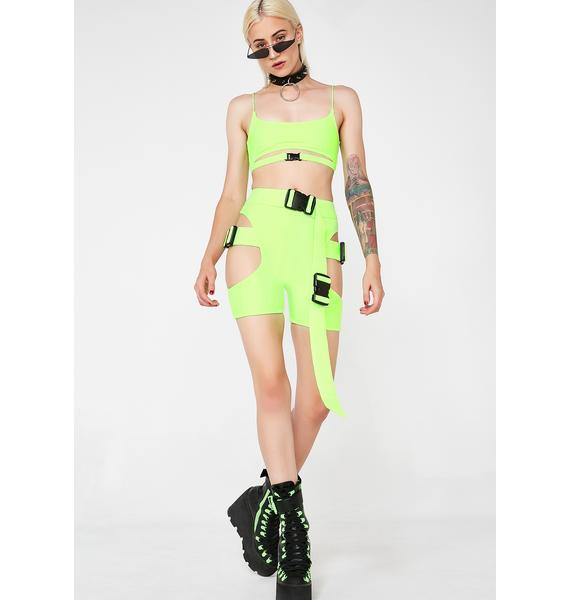 Lipt The Label Biohazard Buckle Shorts