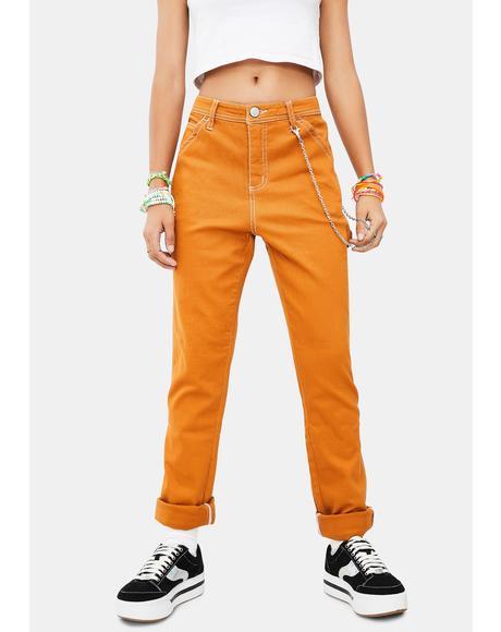 Autumn Glow Slim Carpenter Pants