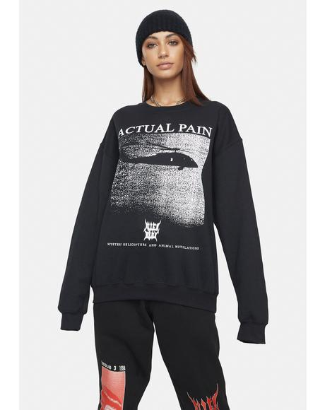 Mystery Helicopter Graphic Sweatshirt