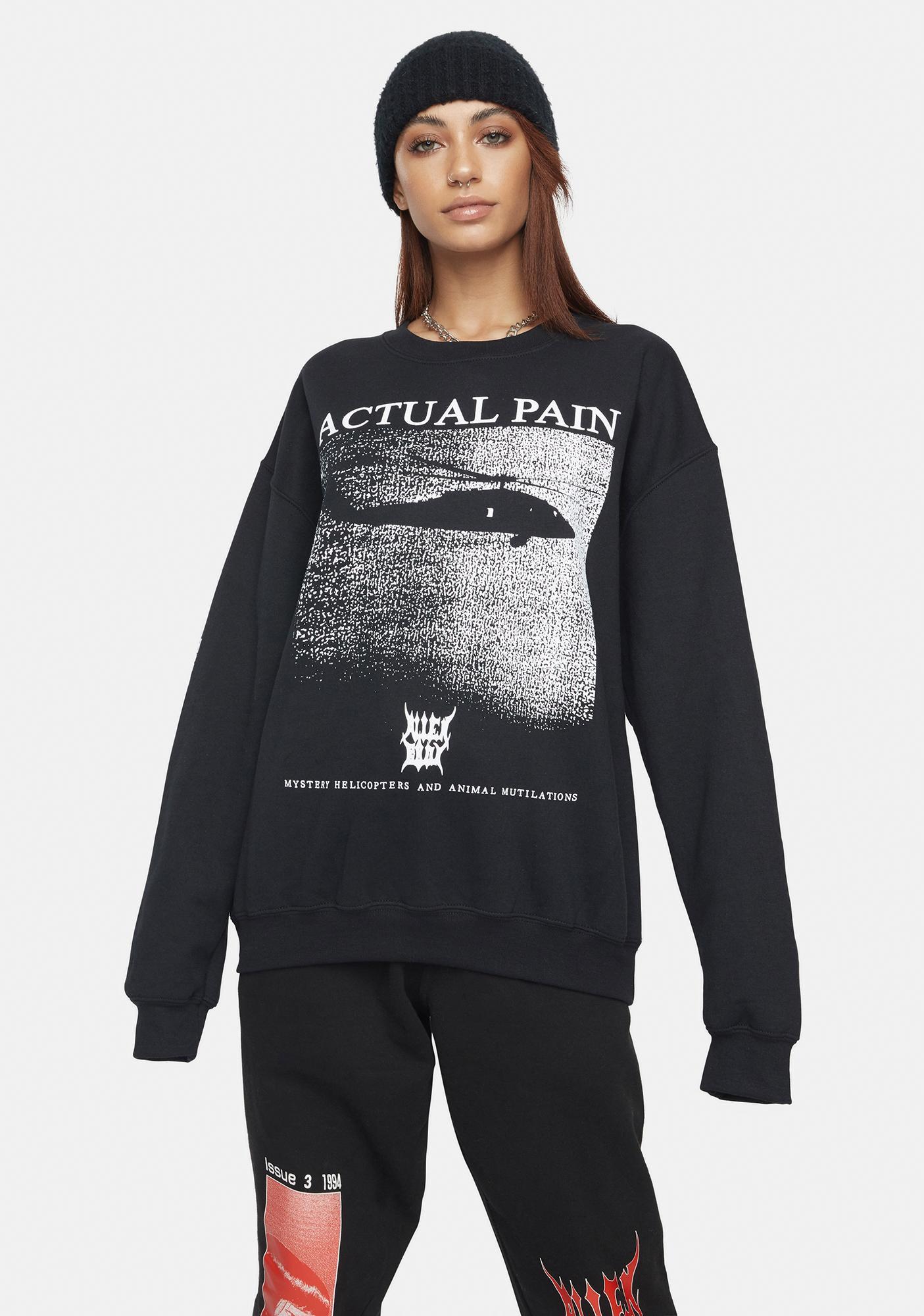 ALIEN BODY Mystery Helicopter Graphic Sweatshirt