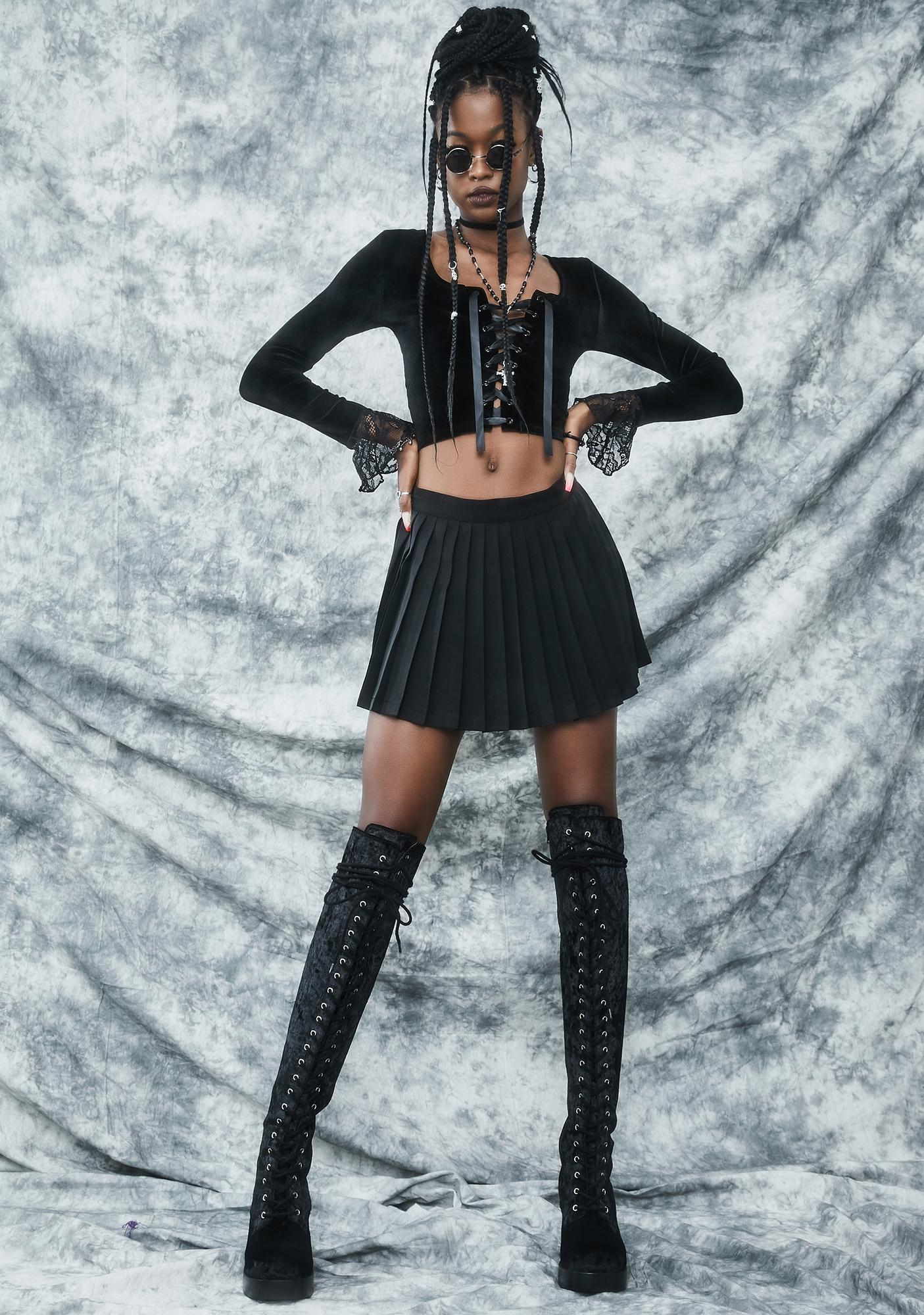 dELiA*s by Dolls Kill Charm Class Hero Velvet Crop Top