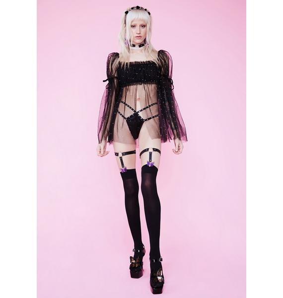 Sugar Thrillz Elf Priestess Rhinestone Tulle Crop Top