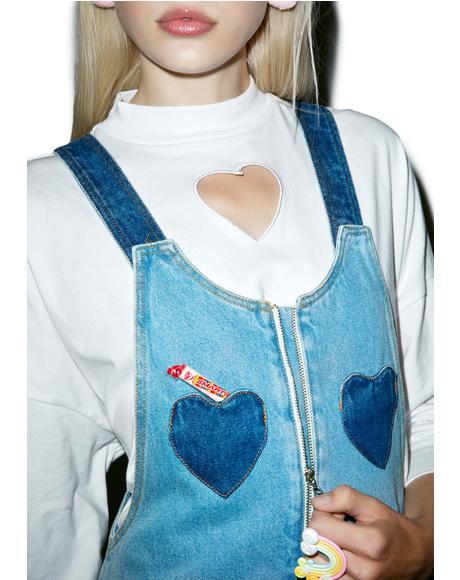 Denim Heart Pinafore Dress