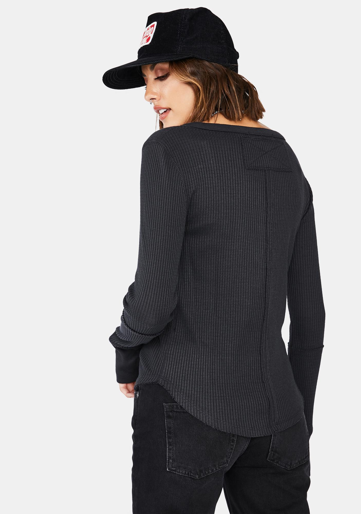 Free People Black Everest Solid Henley Top