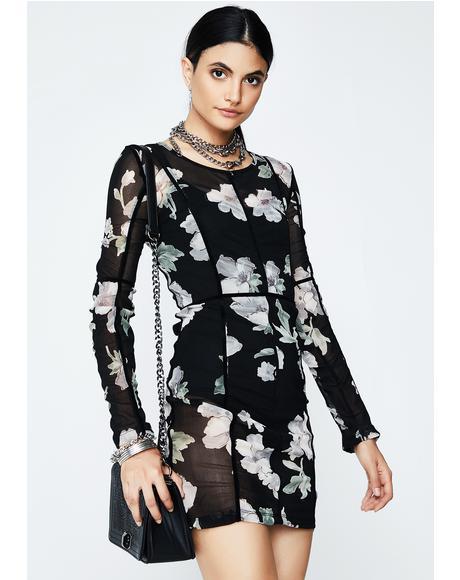 Floral Freeze Frame Sheer Dress