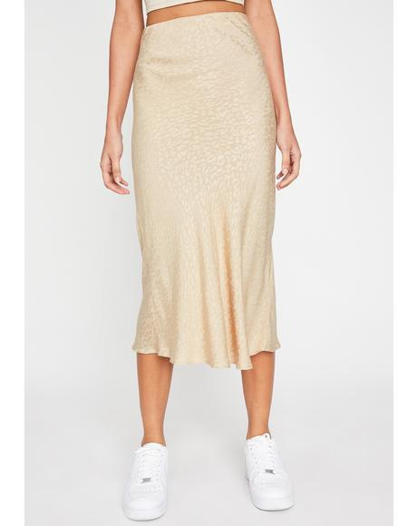 Latte Softcore Kitty Midi Skirt