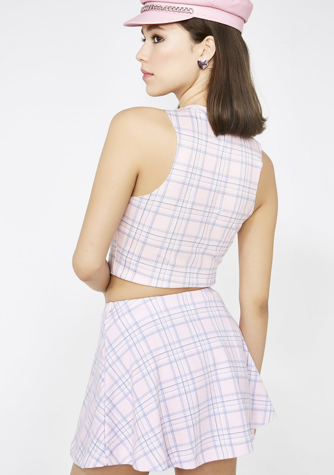 Wildfox Couture Pastel Plaid Villa Skirt