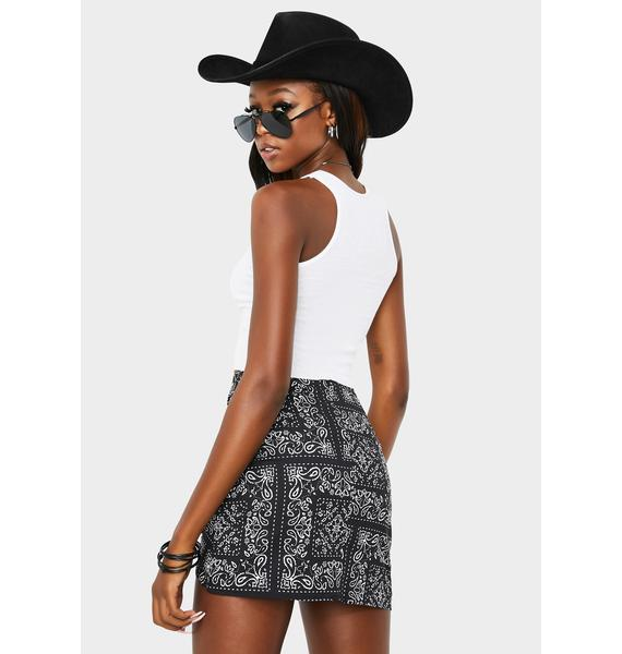 Re Named Bandana Ruched Mini Skirt