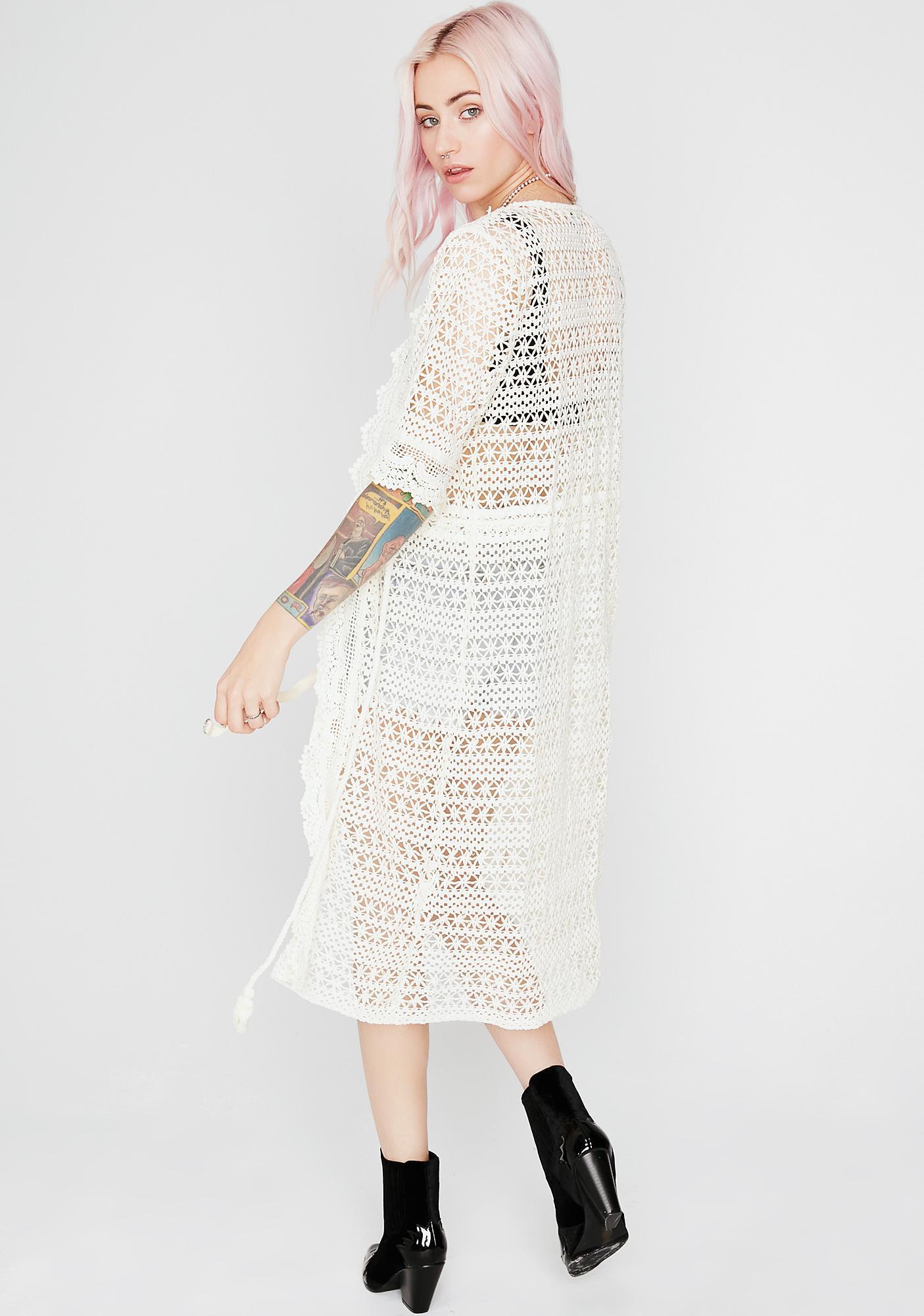 Beat Wave Crochet Kimono