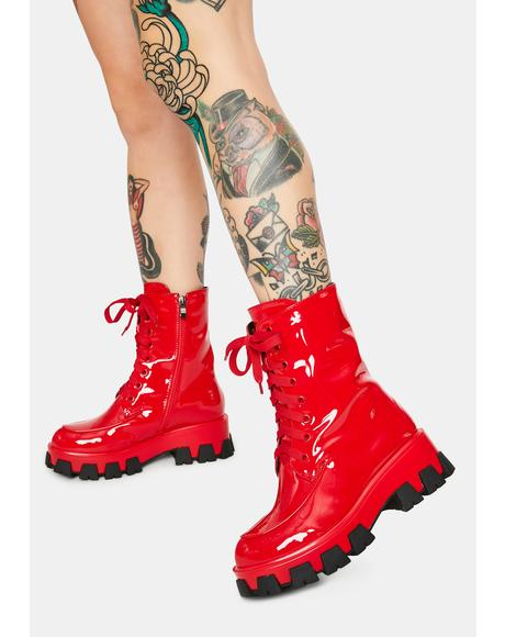 Red Excision Combat Boots