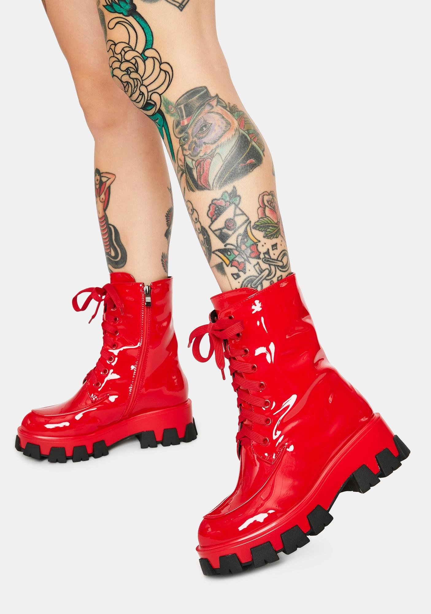 AZALEA WANG Red Excision Combat Boots