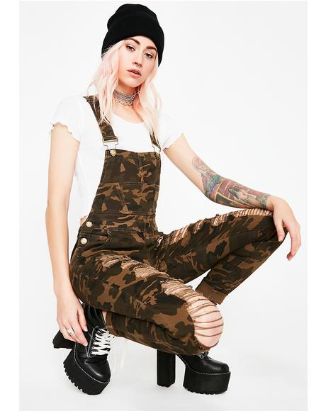 Never Unseen Distressed Overalls
