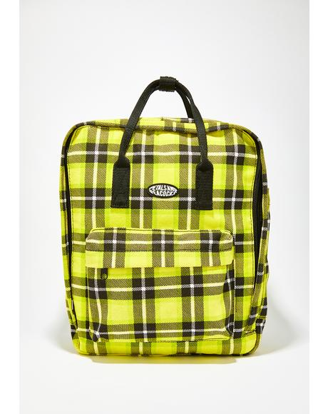 As If Yellow Plaid Backpack