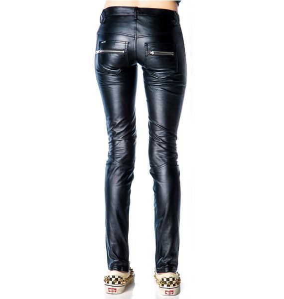 Kill City Junkie Lace Up Fly Leather Pants