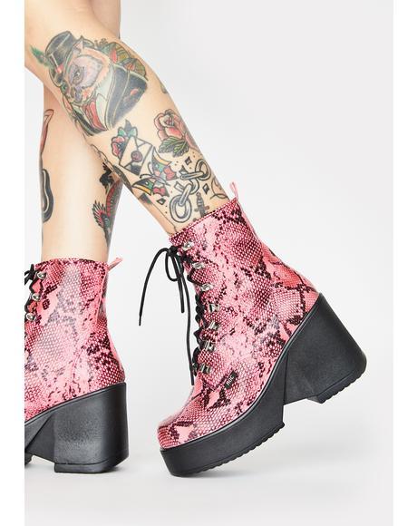 Pink Snakeskin Pelham Wedge Boots