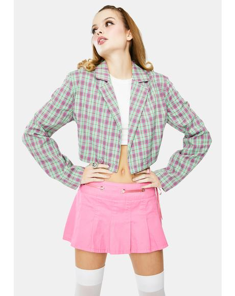 Multi Cropped Check Blazer