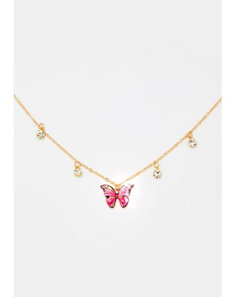 Gotta Fly Rhinestone Necklace