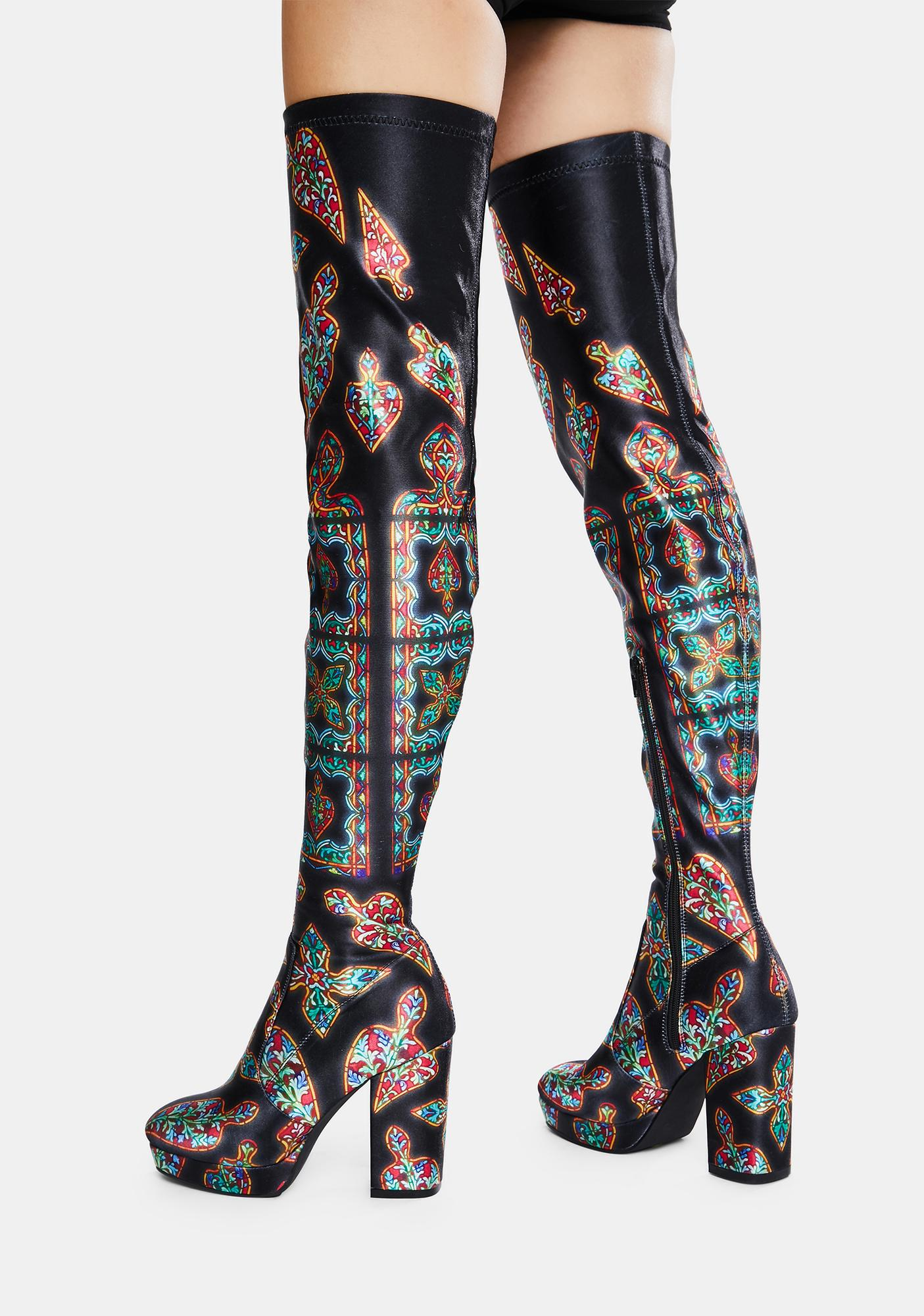 Club Exx Thru The Looking Glass Thigh High Boots